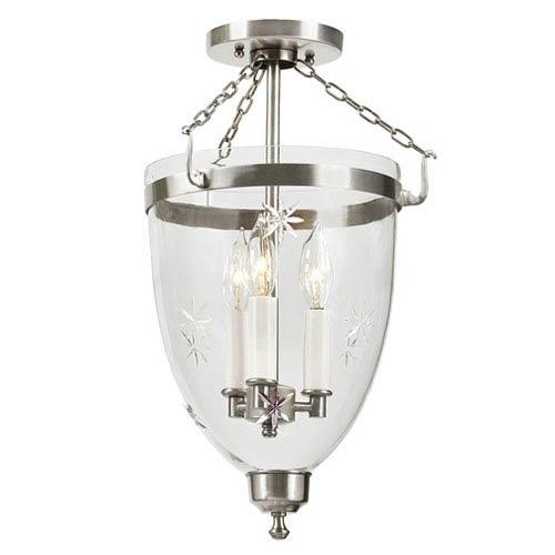 JVI Designs Danbury Pewter Large Three Light Bell Glass Lantern with Star Glass