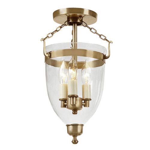 JVI Designs Danbury Rubbed Brass Small Three Light Bell Glass Lantern with Clear Glass