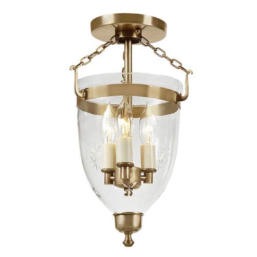 JVI Designs Danbury Rubbed Brass Small Three Light Bell Glass Lantern with Star Glass