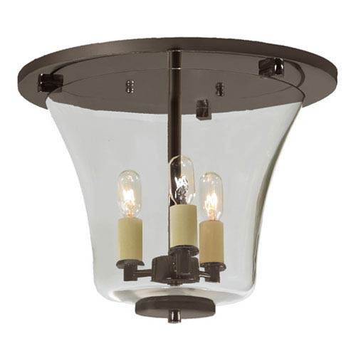 JVI Designs Greenwich Oil Rubbed Bronze Three Light Flush Ceiling Mount