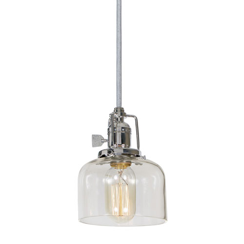 Union Square Polished Nickel 5-Inch One-Light Mini Pendant with Clear Mouth Blown Glass Shade