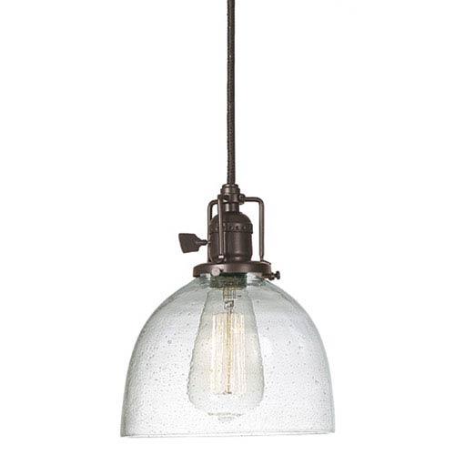 JVI Designs Union Square Seven-Inch Bronze Pendant with Seeded Glass and 60-Inch Wire