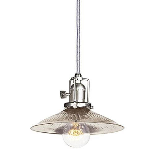 Union Square Pewter Eight-Inch Mini Pendant with Antique Mercury Ribbed Glass Shade
