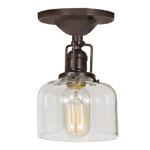 Union Square Oil Rubbed Bronze 5-Inch One-Light Semi-Flush Mount with Clear Mouth Blown Glass Shade