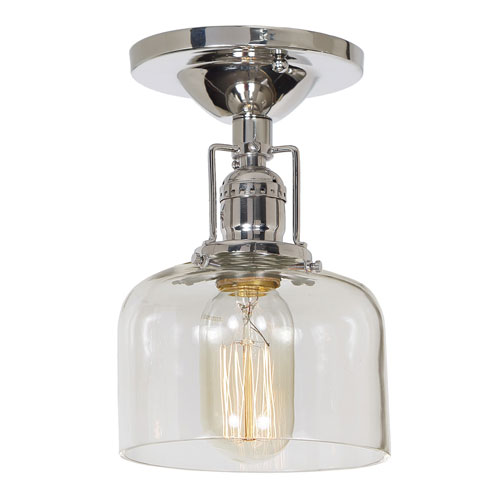 Union Square Polished Nickel 5-Inch One-Light Semi-Flush Mount with Clear Mouth Blown Glass Shade