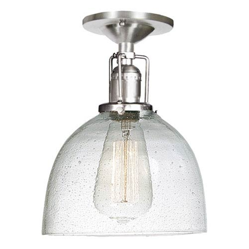 Union Square Seven-Inch Pewter Semi-Flush Mount with Bubble Glass