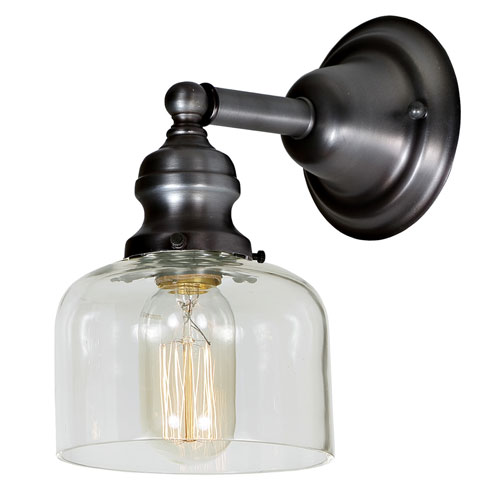 Union Square Gun Metal 5-Inch One-Light Wall Sconce with Clear Mouth Blown Glass Shade
