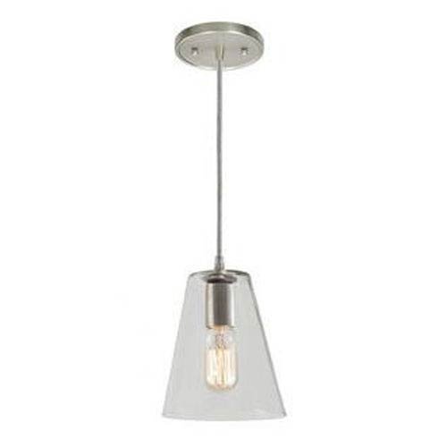 Grand Central Polished Nickel Six-Inch Mini Pendant with Clear Glass Cone Shade