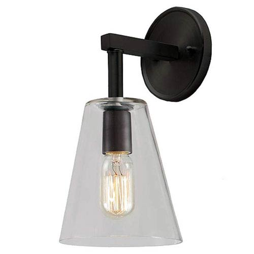 JVI Designs Grand Central Oil Rubbed Bronze Six-Inch Wall Sconce with Clear Glass Cone Shade