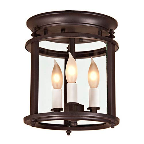 Small Oil Rubbed Bronze Three-Light Flush Mount with Bent Glass