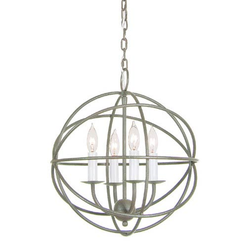 Globe Aged Silver Four Light Chandelier