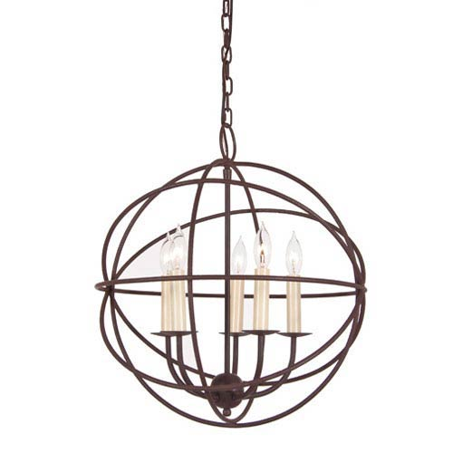 Rust Five Light Hammered Globe Chandelier