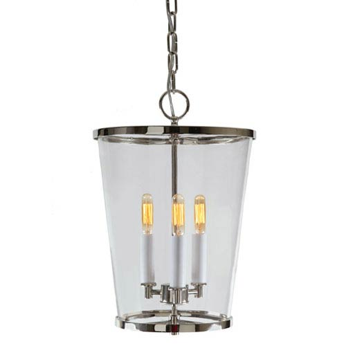Charleston Polished Nickel Three Light Pendant