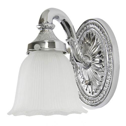 Polished Chrome One-Light Cast Brass Bath Sconce