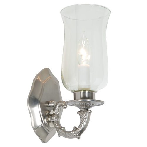JVI Designs Pewter and Satin Nickel One-Light Wall Sconce with Hurricane Shade