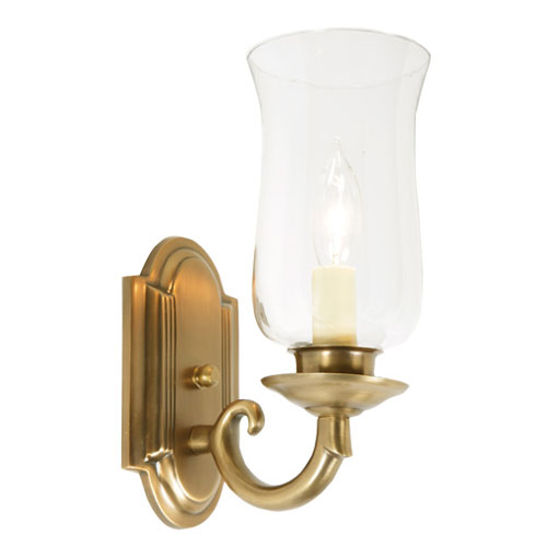 Rubbed Brass One-Light Wall Sconce with Hurricane Glass