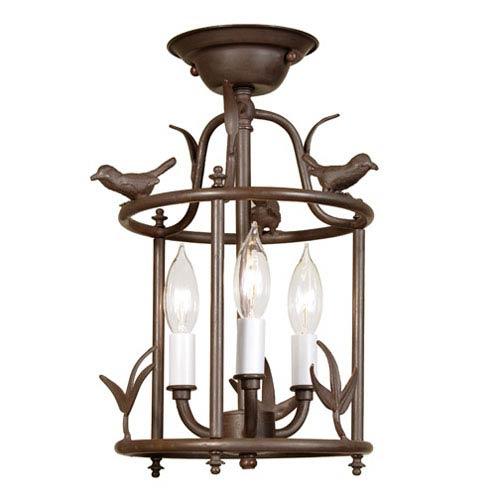 Bird Cage Rust Three-Light Semi-Flush