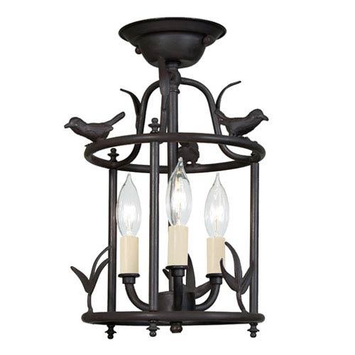 Bird Cage Matte Black Three-Light Semi-Flush