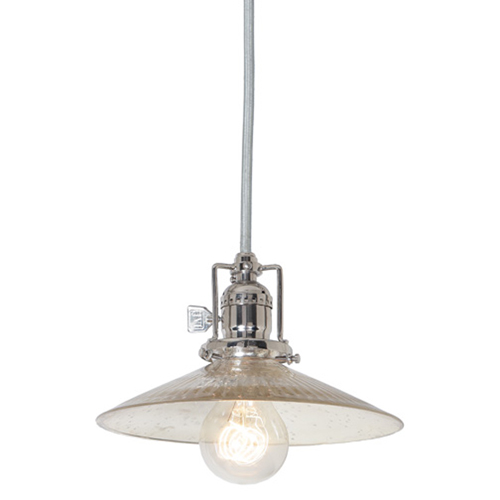 Union Square Polished Nickel One-Light Pendant with Glass Shade