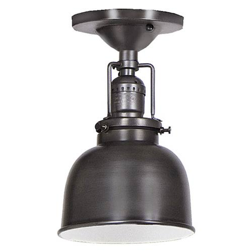 Union Square Gun Metal One Light Flush Mount with 5-Inch Metal Shade