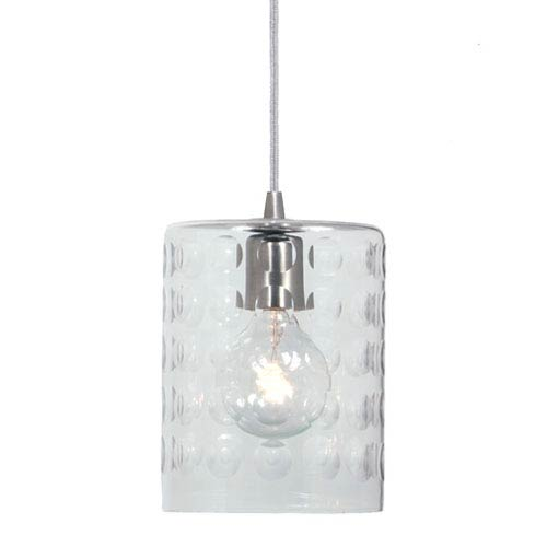 Grand Central Pewter One Light Mini Pendant with 6-Inch Hammered Blown Glass Shade