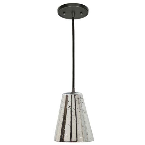 Grand Central Gun Metal One Light Mini Pendant with 6-Inch Antique Mercury Blown Glass Shade