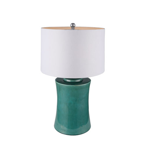 Green and Chrome One-Light Table Lamp