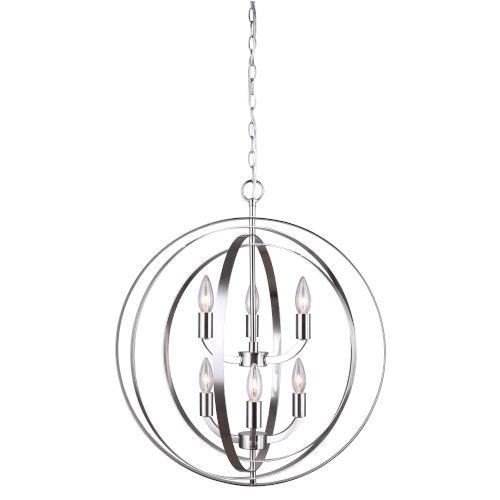 Meridian Brushed Nickel Six-Light Chandelier