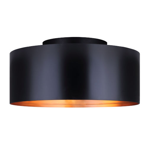 Oxyura Black Two-Light Flush Mount