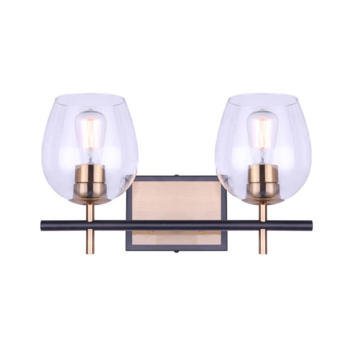 Cain Black and Gold Two-Light Bath Vanity