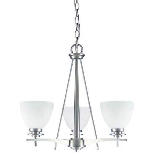 New Yorker Brushed Pewter Three-Light Chandelier with Flat White Opal Glass