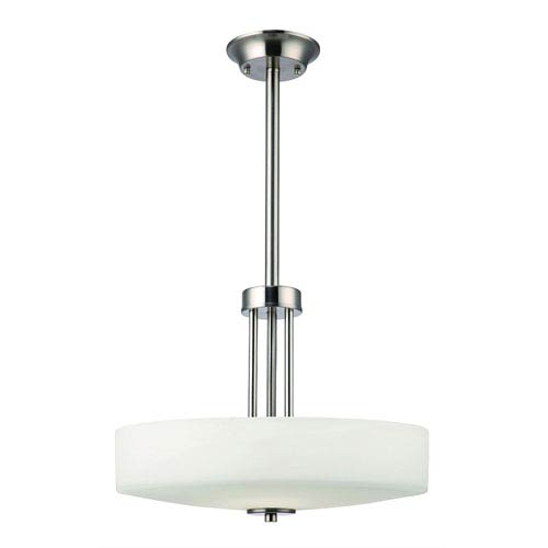 Quincy Brushed Nickel 48.5-Inch Three Light Pendant with White Flat Opal Glass