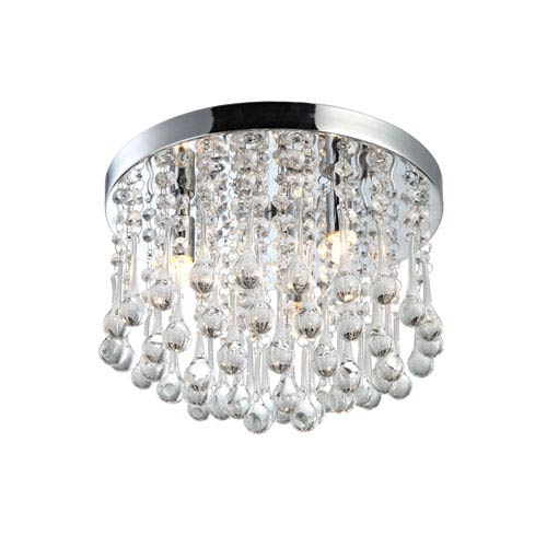 Daya Chrome 8.50-Inch Three Light Flush Mount Glass