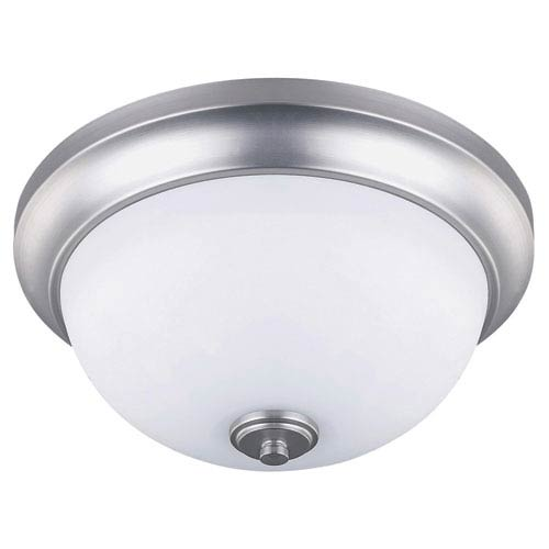 New Yorker Brushed Pewter Two Light Flush Mount with Flat White Opal Glass