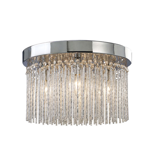 Canarm Monaco Chrome 8.75-Inch Four Light Flush Mount Glass
