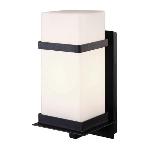 Havana Black One Light Outdoor Wall Light with White Flat Opal Glass