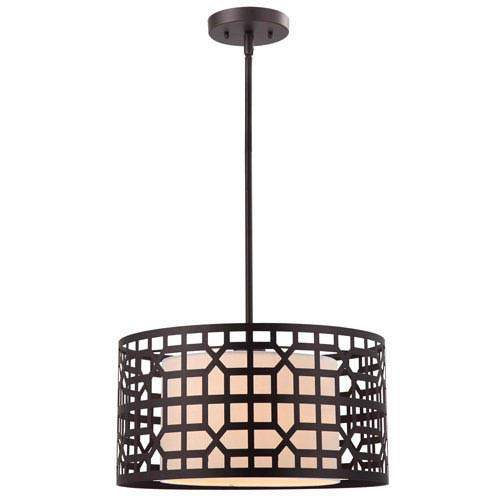 Kuan Oil Rubbed Bronze One Light Pendant with White Fabric Glass