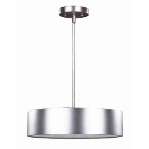 Dexter Aluminum Three-Light Pendant with Frosted Glass