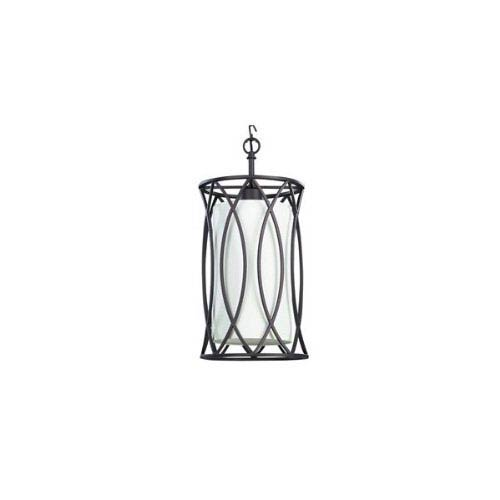 Monica Oil Rubbed Bronze One Light Mini Pendant with Cream Fabric Shade Glass