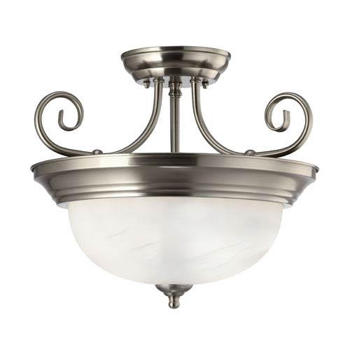 Canarm Julianna Brushed Nickel Two Light Semi-Flush with White Alabaster Glass