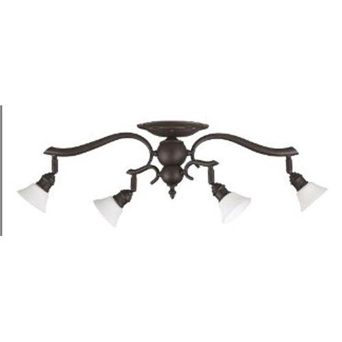 Canarm Addison Oil Rubbed Bronze Four-Light Directional Spotlight with White Flat Opal Glass