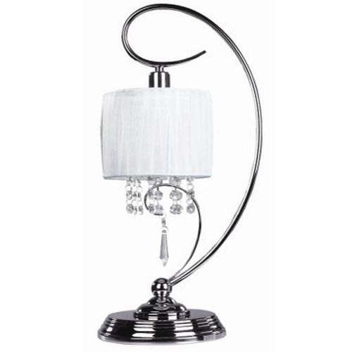 Michele Chrome One-Light Table Lamp with White Fabric Shade
