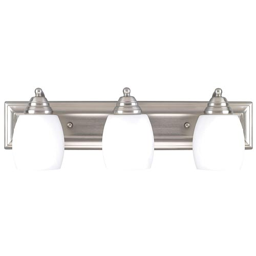 Griffin Brushed Pewter Three-Light Bath Light with Flat White Opal Glass