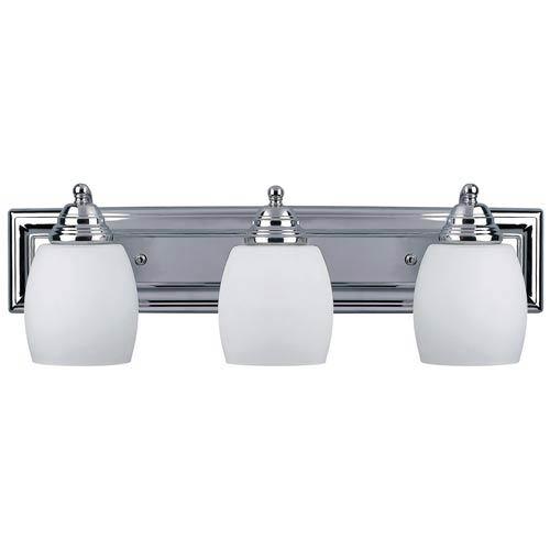 Griffin Chrome Three-Light Bath Light with Flat White Opal Glass