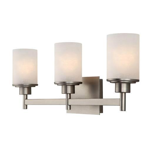 Lyndi Brushed Nickel Three-Light Vanity Light