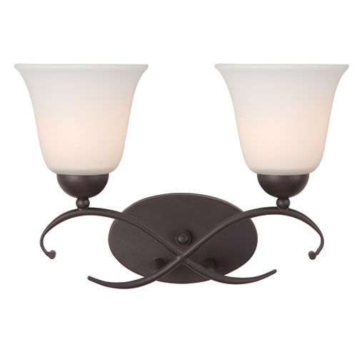 Canarm Lily Oil Rubbed Bronze Two Light Vanity with White Flat Opal Glass