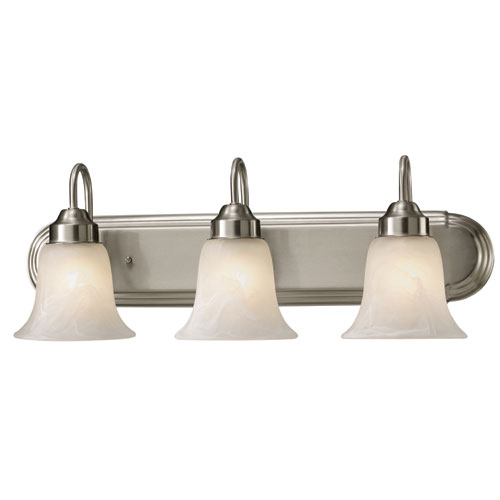 Canarm Stewart Brushed Nickel Three Light Vanity with Alabaster Glass