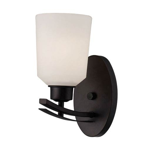 Canarm Quincy Oil Rubbed Bronze One Light Vanity with White Flat Opal Glass