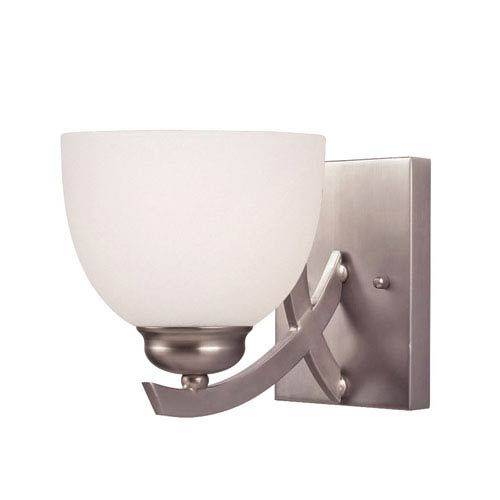 Canarm Kym Brushed Nickel One Light Vanity with White Flat Opal Glass