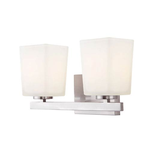 Hartley Brushed Nickel Two Light Vanity with Flat Opal Glass